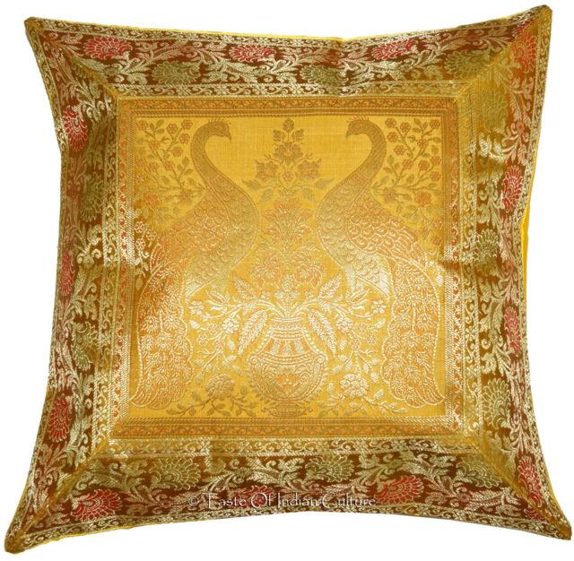 "Gold 17"" Silk Brocade Cushion Pillow Cover Throw Handmade Indian Decorative"