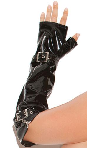 Vinyl Fingerless Gloves with Zipper and Buckle Detail Elbow Length PVC V9431