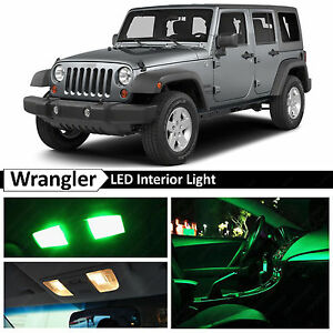 6x green interior led lights package kit for 2007 2014 jeep wrangler ebay. Black Bedroom Furniture Sets. Home Design Ideas