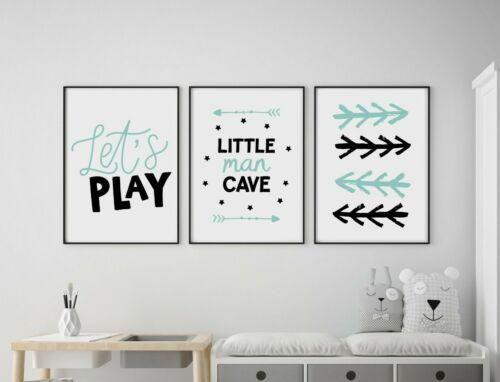 Set of 3 Little Man Cave Arrows Mint /& Black Prints Nursery Boys Room Wall Art