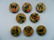 25pcs Vintage Style Birds / Butterflies Wood  Scrapbooking / Sewing Buttons 15mm