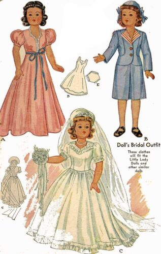 Little Lady Doll Clothing PATTERN 1089 for 15 inch dolls Bridal Gown Suit Dress