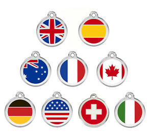 ENGRAVED-DOG-ID-TAG-DISCS-Flag-UK-USA-Canada-Germany-Italy-Red-Dingo
