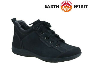 Ladies-Earth-Spirit-Boots-Leather-Nubuck-Lace-Up-Trainers-Winter-Faux-Fur-Shoes