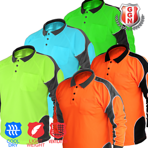 HI-VIS-POLO-SHIRT-ARM-PANEL-WITH-PIPING-FLUORO-WORK-WEAR-COOL-DRY-LONG-SLEEVE