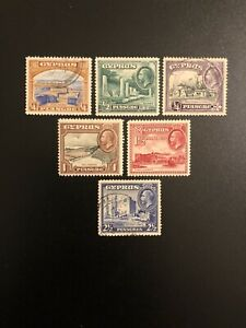 Cyprus-1934-Stamp-Lot-Of-6-Sc-125-126-127-128-129-130-Used-Cancelled-amp-Unused