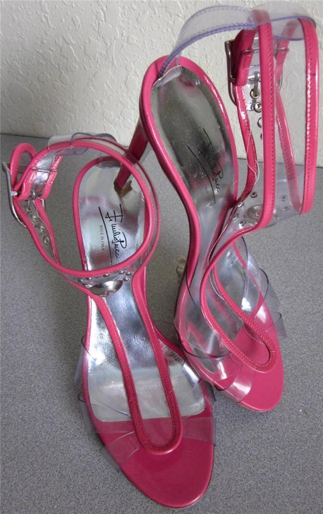 grandi prezzi scontati Emilio Pucci Pucci Pucci rosa Patent Leather Clear Vinyl T-Strap High Heels Sandal scarpe 38 8  basta comprarlo