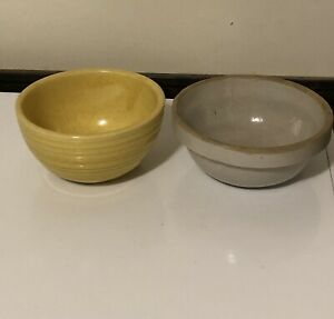 Vintage McCoy Pottery Yellow Bowl And Unknown Pottery Bowl
