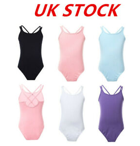 UK-Girls-Ballet-Dance-Leotard-Criss-Cross-Back-Gymnastics-Bodysuit-Dancewear