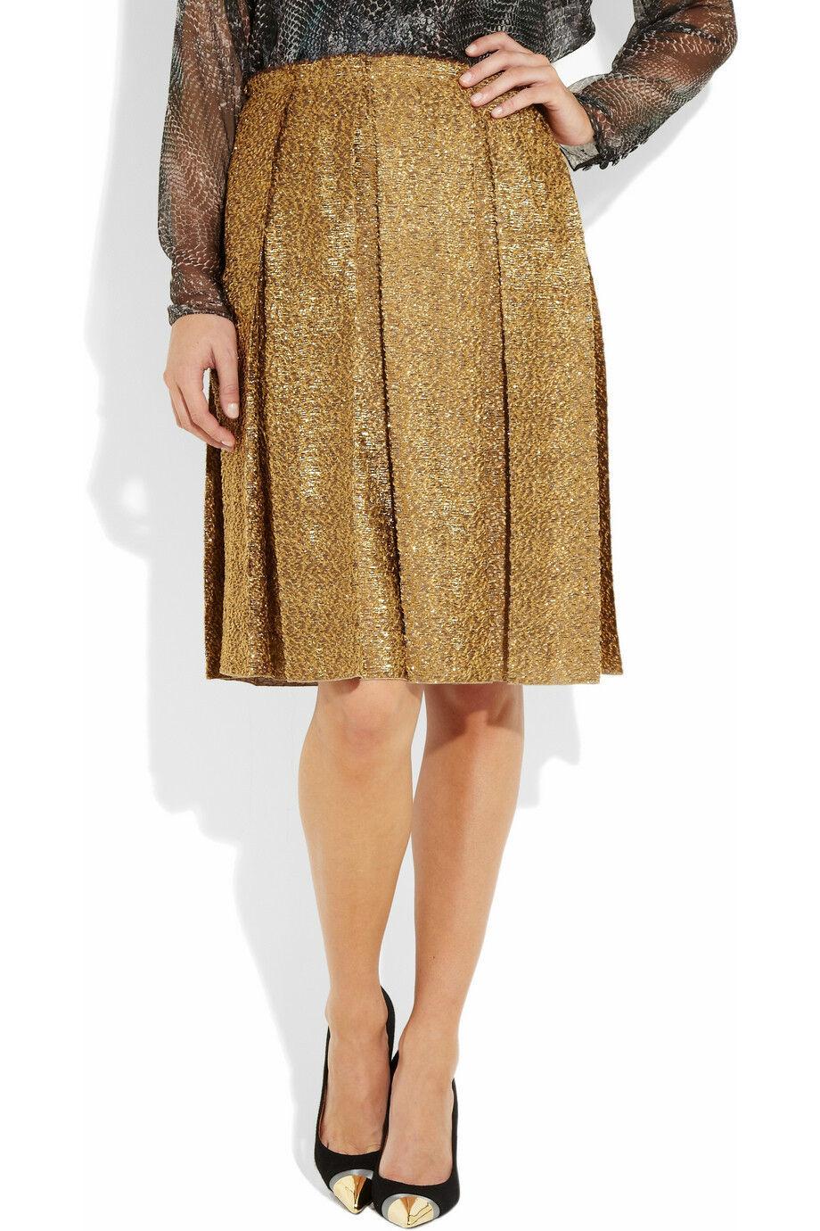 1,990 NWT LANVIN Bronze Metallic Tweed Pleated Rock FR36 US4