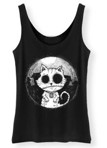 Zombie-Cat-Tank-Top-Womens-ladies-Goth-Rock-Kitty-Corpse-Afterlight-Clothing