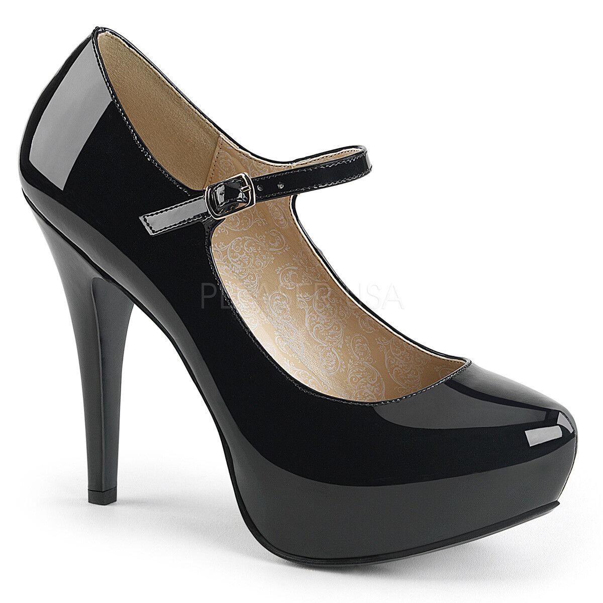 Pleaser Chloe - 02 02 02 Negro Patente MARYJANE PLATAFORMA OCULTA ZAPATOS Reino Unido 9 EU 42 in (approx. 106.68 cm) Stock  80% de descuento