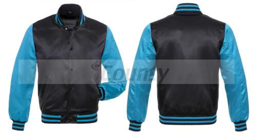 New Baseball Letterman College Varsity Jacket Sports Wear Black Turquoise Satin