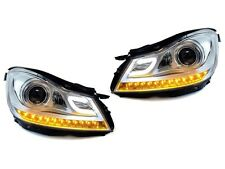 DEPO C63 AMG Chrome Projector LED Headlight Fit For 12-14 Mercedes W204 C Class