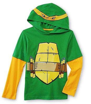 NINJA TURTLES MICHELANGELO Hooded Costume Shirt Long-Sleeve Tee Sz 4 or 5/6  $22