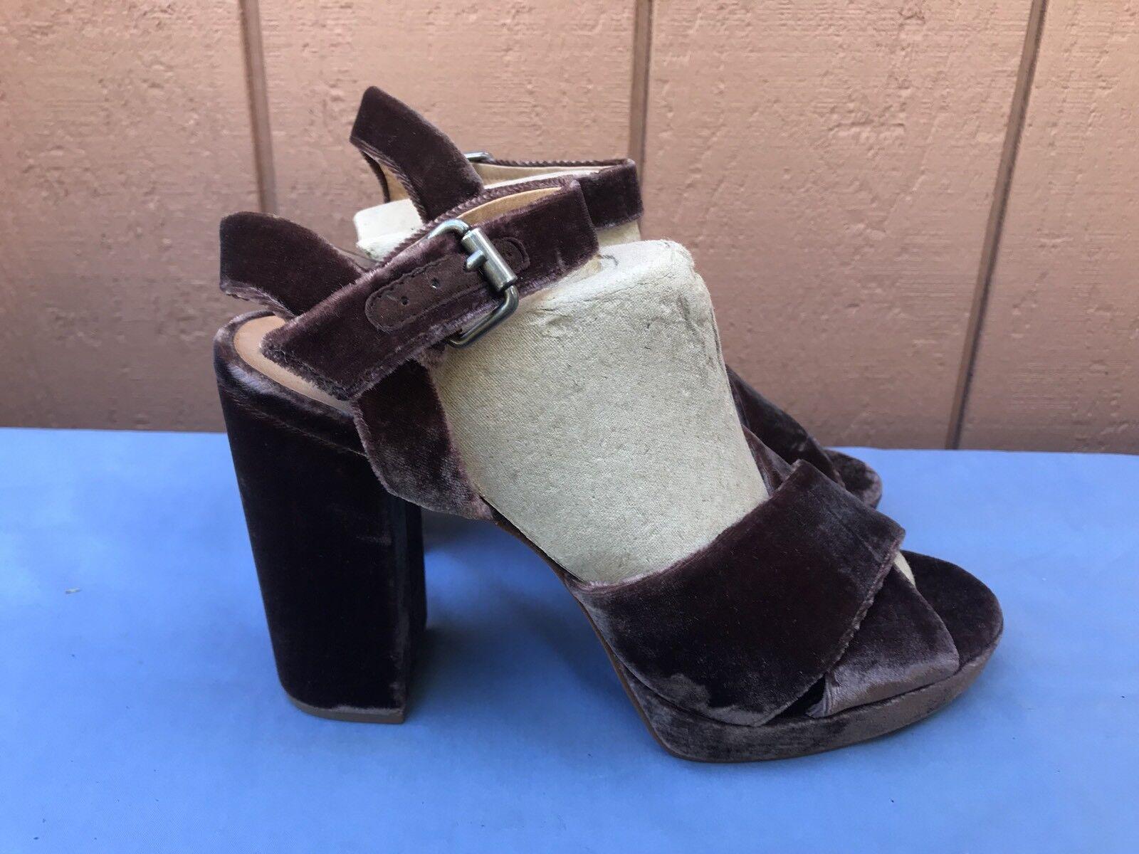 Madewell The Vanessa US 9.5 Criss Cross Wine Sandale Schuhe Heel Braun Wine Cross Velvet A7 8d8149