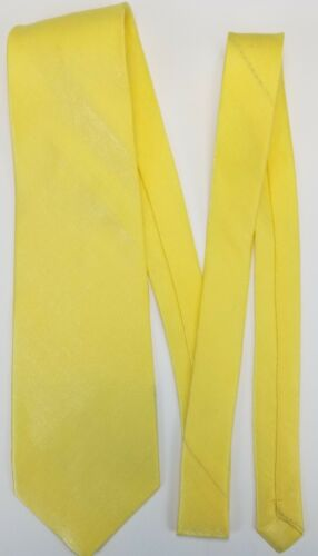 Shiny Yellow Necktie with Silver Metallic Threading Solid Color Tie