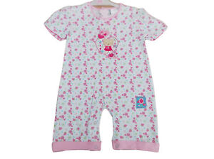 ac1519b67cd1 Details about BNWT Baby girl summer pink   white summer teddy   flower all  in one romper 3-6 m