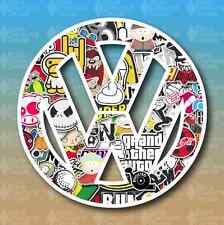 "Volkswagen VW Sticker Bomb 5"" Euro Custom Vinyl Decal Sticker JDM"
