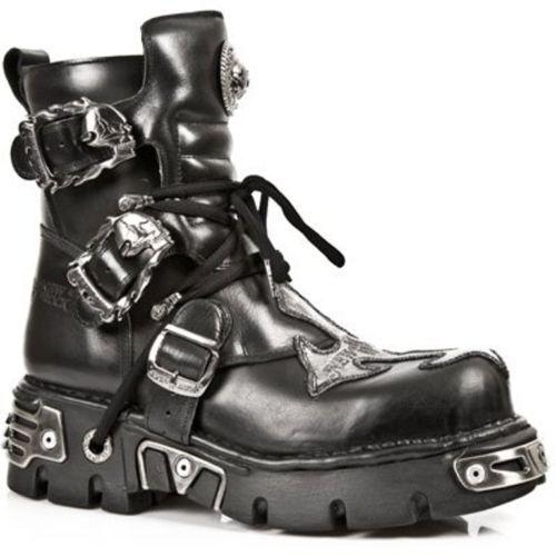 NewRock NEW ROCK 407-S1 Argent Croix Noir Gothique Biker Bottes Chaussures en Cuir Bottes