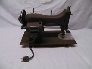 vintage-Domestic-Sewing-Machine-E-6354-Brown-color-all-metal-USA-17-034-x-7-034-x-12-034