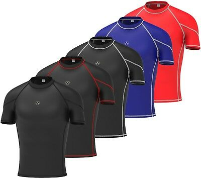 Aktiv Mens Compression Armour Base Layer Top Half Sleeve Thermal Gym Sports Shirt Extrem Effizient In Der WäRmeerhaltung