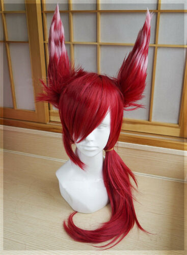 Game LOL Xayah The Rebel Red Long Wig Ear Cosplay League of Legends Hairpieces