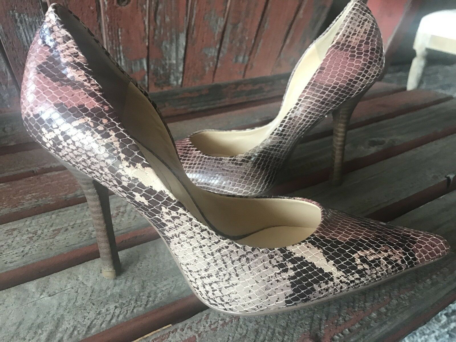 pinK BRoWN SNaKeSKiN NEW 7.5 Pointy Toe CARRIE Stiletto Heels PUMPS GuESS