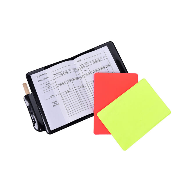 1X professional soccer referee wallet football red card yellow card pencil l Cw