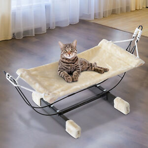 Pet-Hammock-Bed-Cat-Hanging-Kitty-Relaxing-Sleeping-Soft-Cosy-Raised-Nest-Metal