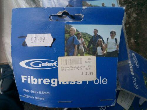Gelert Fibreglass Replacement Tent Pole 600mm x 8.6mm includes ferrule.