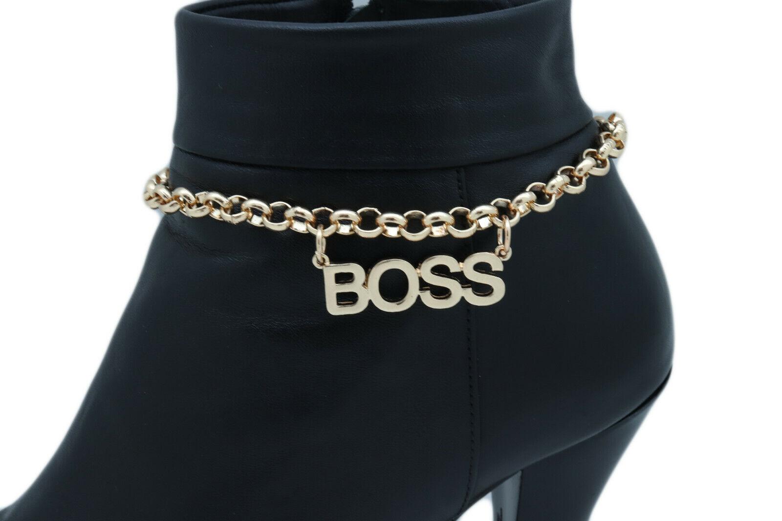Women Gold Metal Chain Boot Bracelet Shoe Anklet BOSS Charm Gangster Cool Look