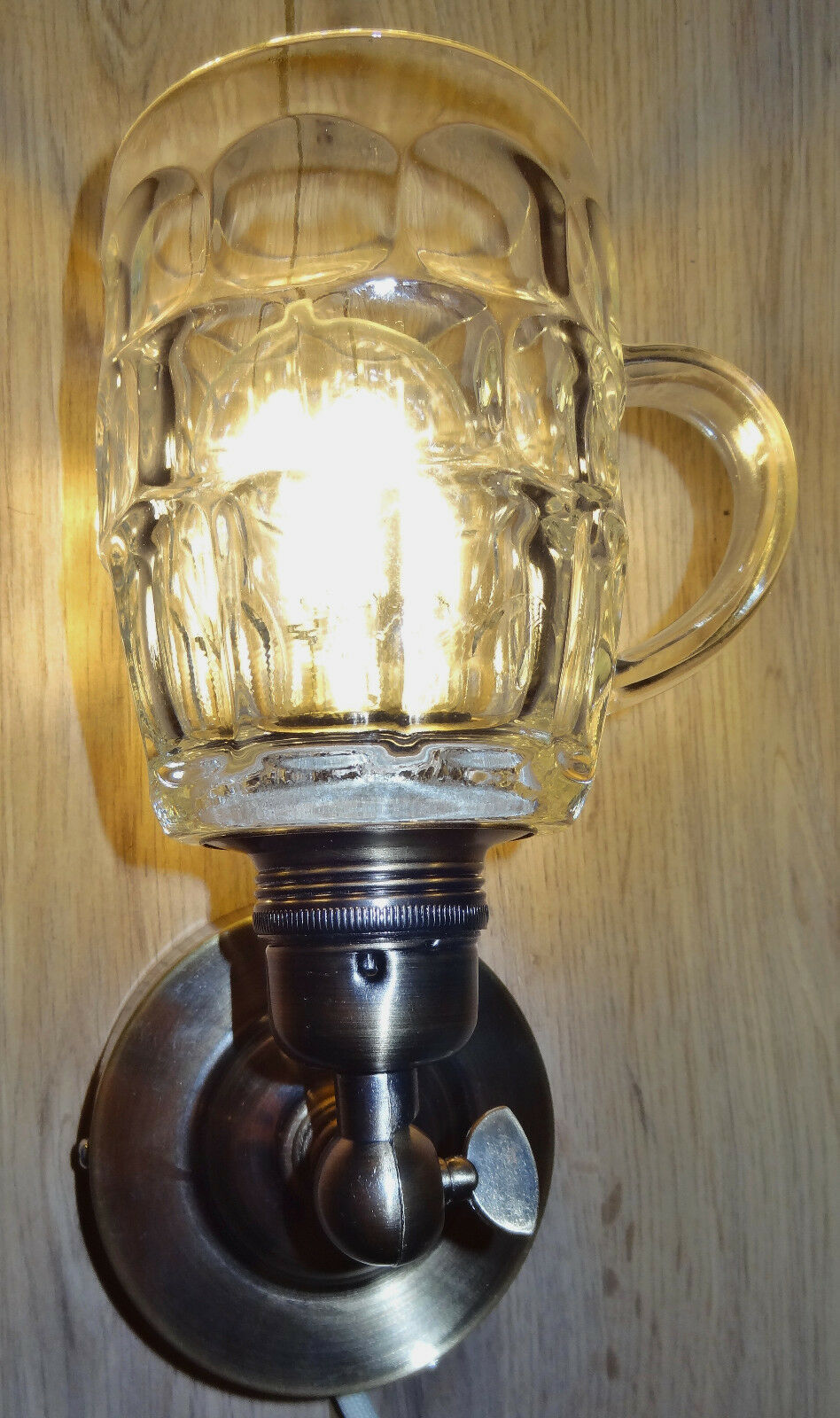 Elegant handmade upcycled Beer glass wall lamps with vintage style fittings