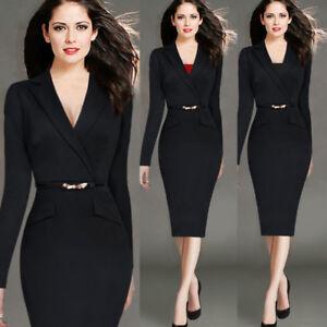 Women-039-s-Elegant-Bodycon-Pencil-Dress-Suit-collar-Business-Office-OL-Work-Formal