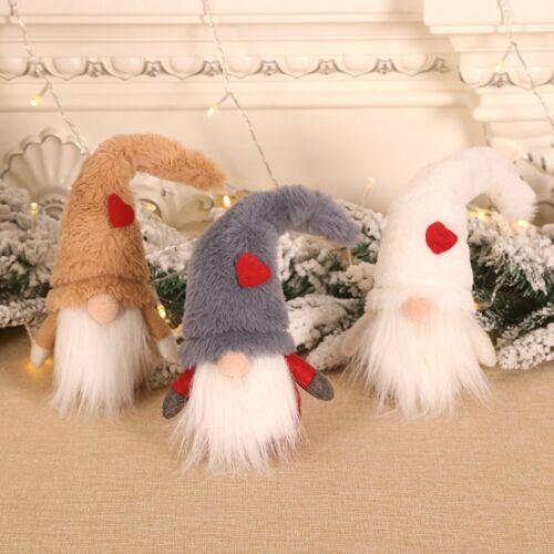 Plush Hat Long Beard Gnome Doll Christmas Santa Elf Figurine Home Ornament Decor