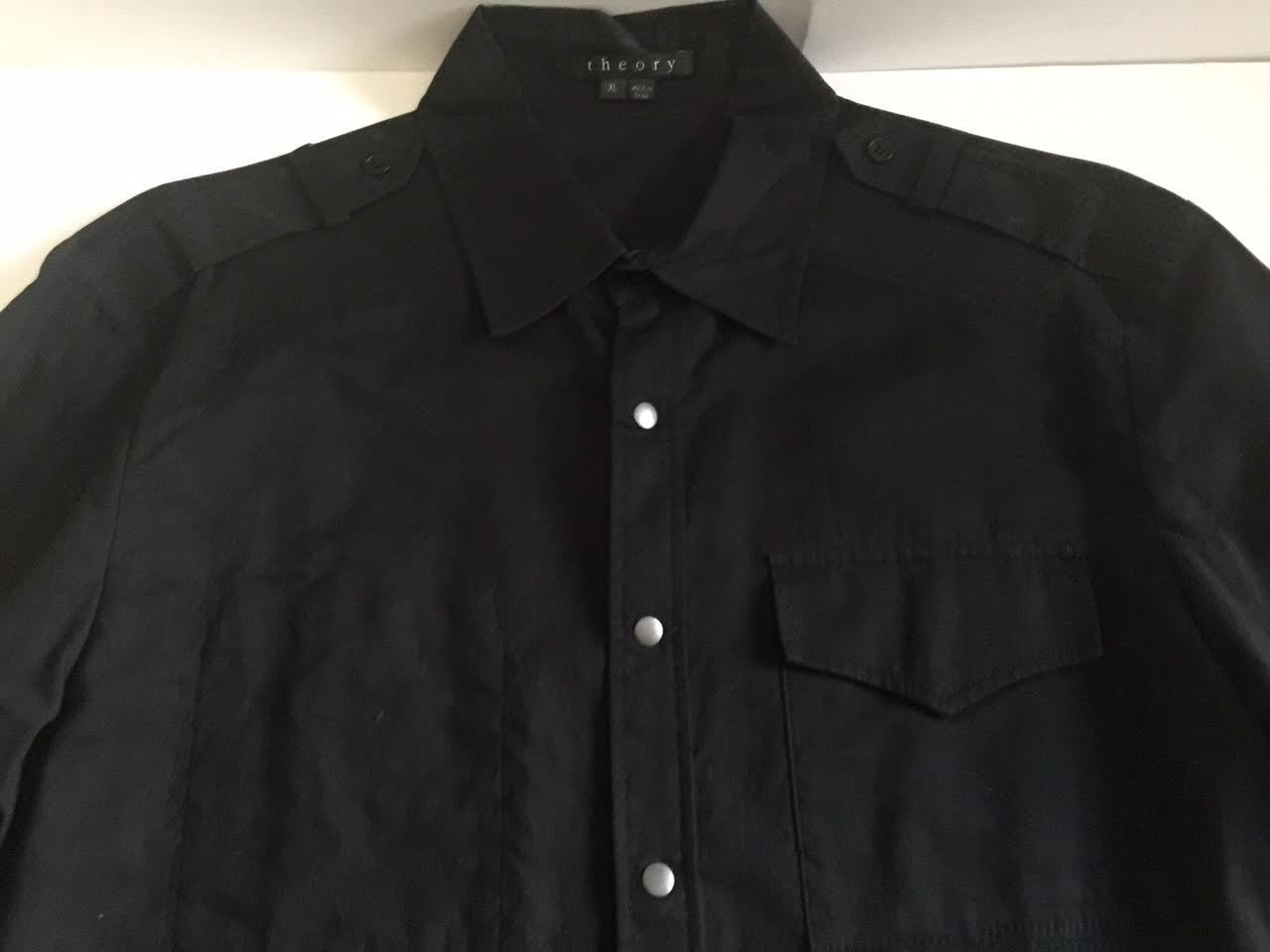THEORY MENS FLOYD SNAP FRONT EPAULETS SHOULDER SHIRT US SIZE XL
