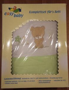 Details Zu Baby Bettwäsche Set Bärchen Inkl Himmel Und Himmelstange Mint Grün Weiss Neu