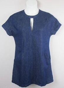 d93020996a1 Guess Womens Dress Denim Shift V Neck Short Sleeves Front Pockets ...