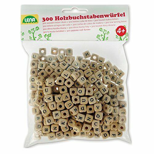 Bastelset Buchstabenwürfel aus Holz Set mit 300 Fädelperlen in ... Lena 32005