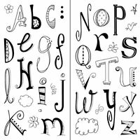 Inkadinkado Doodle Alphabet Clear Stamps, Rubber Stamp, Scrapbooking Cling