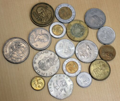 Lot of 17 Different Mexican Coins 1-1000 Pesos