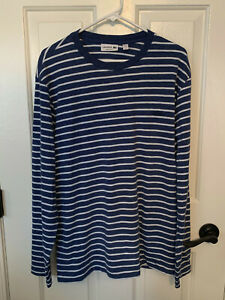 Men-039-s-Lacoste-long-sleeve-t-shirt-blue-and-white-stripe-never-worn