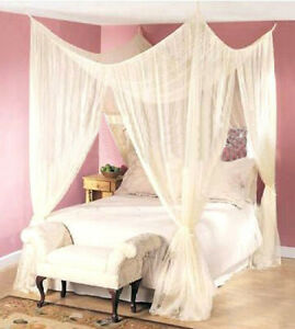 DREAMMA-4-POST-BEDS-CANAPY-BEDROOM-CURTAIN-FLY-NETTING-MESH-BED-NET