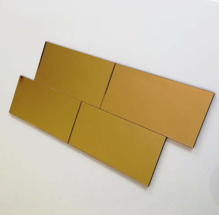 Rectangular Acrylic Wall Tiles - Gold Mirror