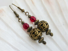 Vintage Style Antique Bronze and Red Crystal Drop Dangle Pierced Earrings, Beads