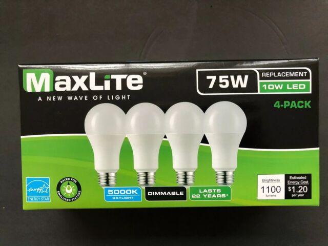 4 pack New 75 Watt Equivalent  A19 LED Light Bulb dimmable daylight 5000k
