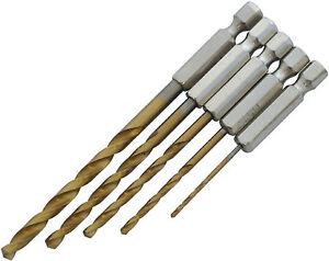 5pc-HSS-TITANIUM-COATED-HEX-SHANK-METAL-DRILL-BIT-SET