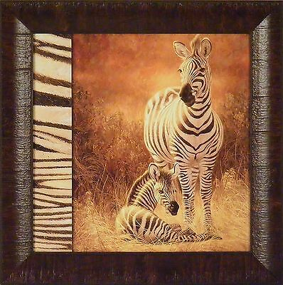 A NEW DAY by Lucie Bilodeau 15x15 FRAMED PRINT Zebra Mom Baby Nursery Picture