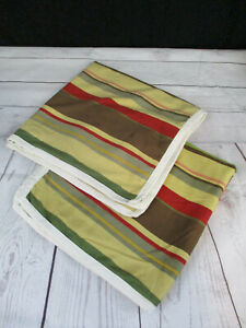 2 Pottery Barn Euro Pillow Shams Yellow Green Brown Stripe