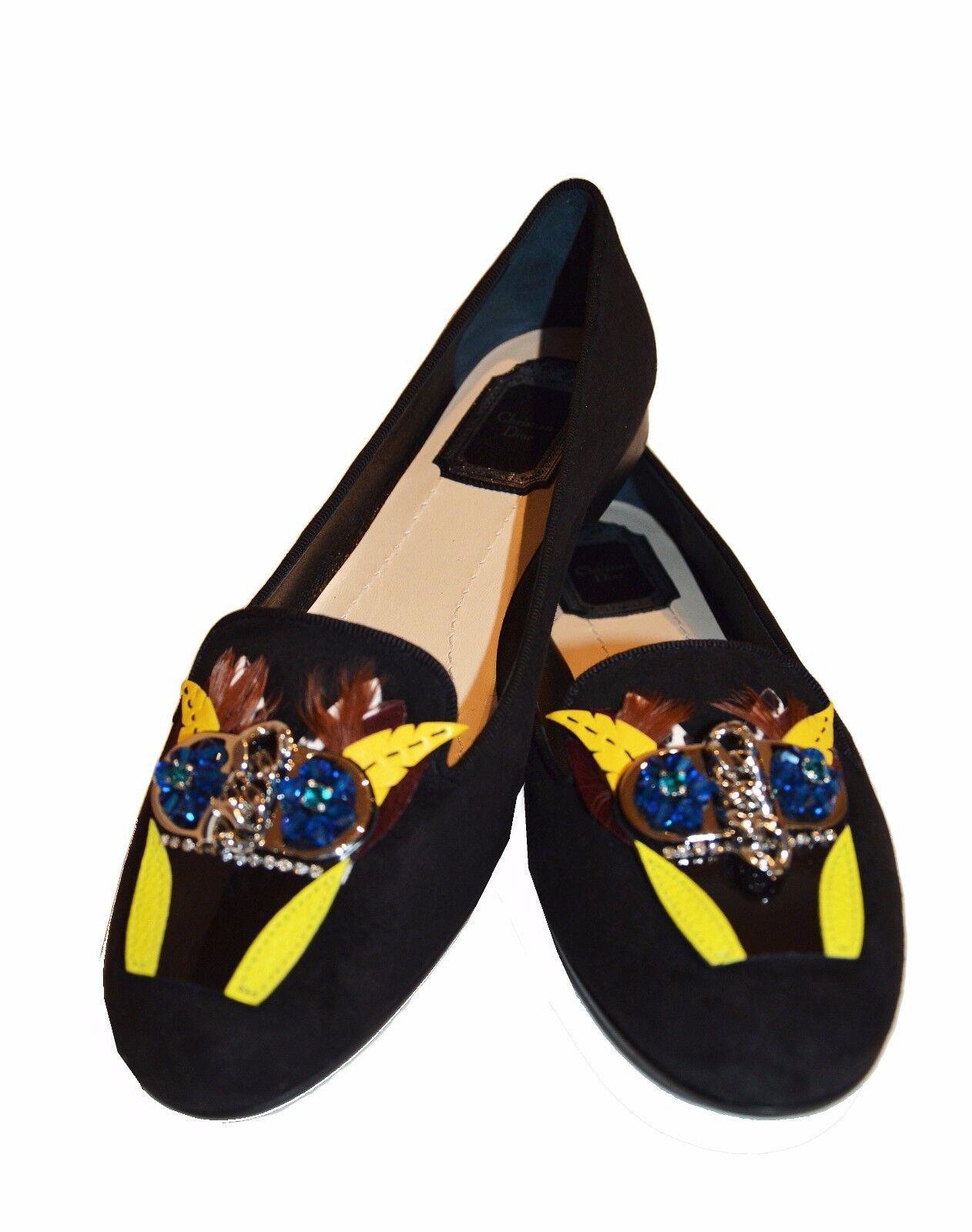 NEW DIOR crystal suede embellished embellished embellished slipper Ballets flats schuhe Sz. 37 schwarz 805642
